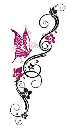 tribales: Floral tribal, tatuaje en negro y rosa