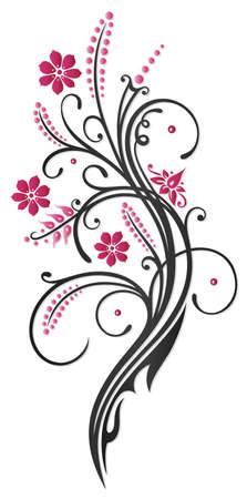 Blumen in rosa und schwarz Illustration