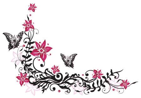 Rosa und schwarze Blumen mit Schmetterlingen Illustration