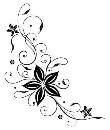 Tendril with large black flowers Illustration
