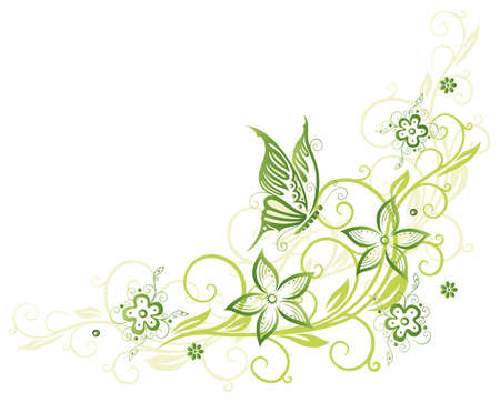 Spring, green flowers with butterfly