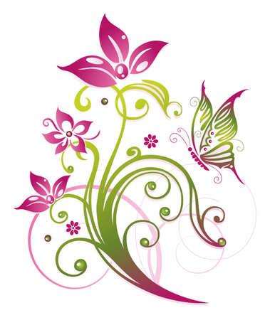 Bunte Blumen in rosa und grün