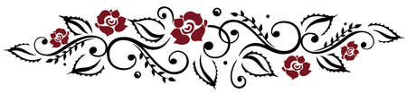 red rose border: Black and red roses, vector illustration