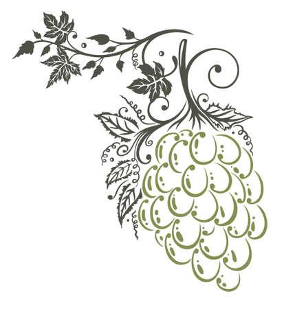wijnbladeren: Wijnbladeren met druiven, grens