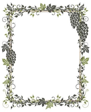 wijnbladeren: Frame met wijnbladeren Stock Illustratie