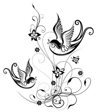 Blumen mit Schwalben, Feder