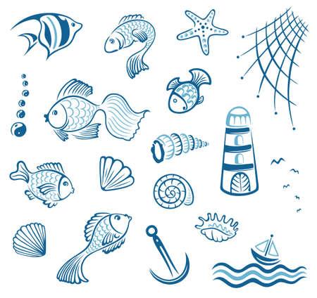 cozza: Maritime, insieme vettoriale, pesce e cozze