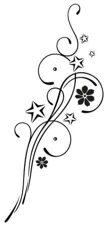 Filigran, Blumen Tribal mit Blüten und Sternen Illustration