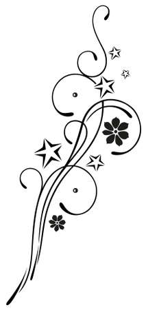 tendrils: Filigree, floral tribal with blossoms and stars Illustration