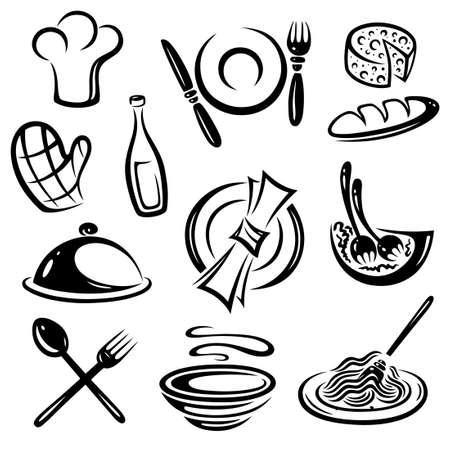 wine and dine: Gastronomy, black vector set