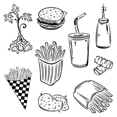 croquettes: Fast food and potatoes, black vector set