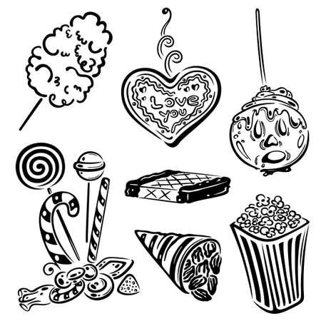 cotton candy: Funfair vector set, design elements