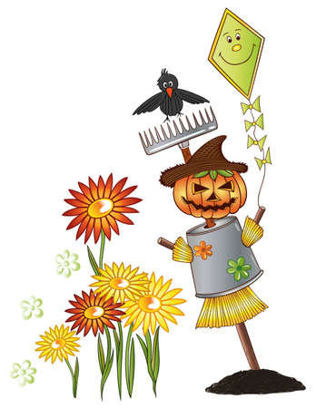 Colorful halloween illustration, scarecrow and raven Vector