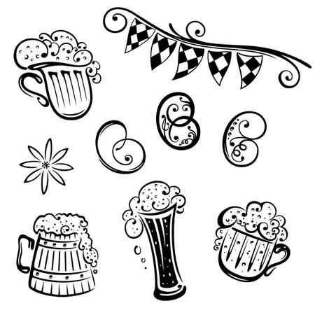 comida alemana: Oktoberfest, conjunto de vectores, la cerveza y pretzel
