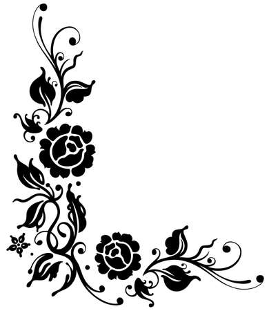 flourish: Black roses with leaves, border, vector illustration