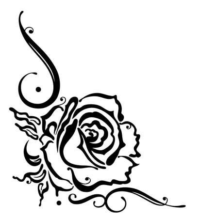 Schwarze Rosen mit Blättern, Grenze, Vektor-Illustration