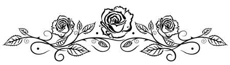 Black roses with leaves, vector illustration