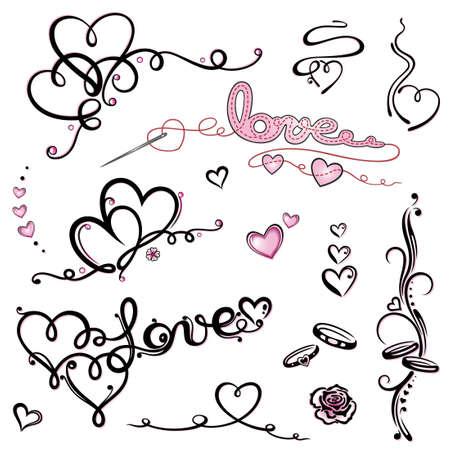 Bunte valentinstag Schriftzug vector set