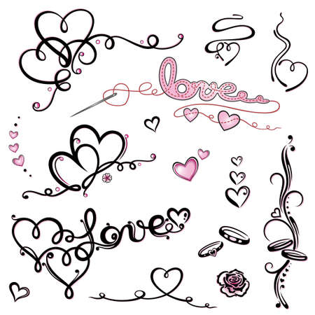 Colorful valentines day lettering vector set