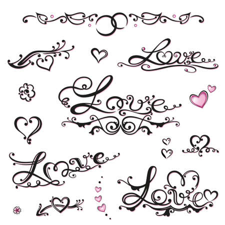 Colorful valentines day lettering vector set Stock Vector - 22214587
