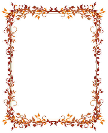 fall leaves border: Red and orange frame with leaves, autumn
