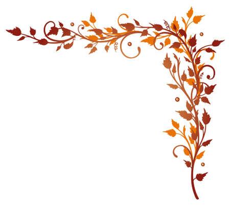 Rote und orange Ranke mit Blättern, Herbst Illustration