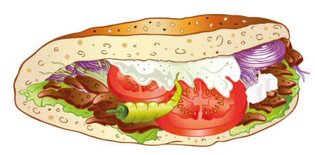 Bunte Kebab mit Salat, Fast-Food-Deutsch Illustration