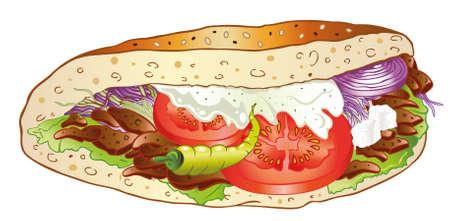 pinchos morunos: Kebab colorido con ensalada, comida rápida alemana Vectores