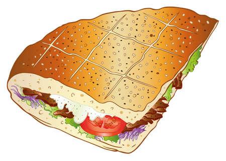 kebab: Colorful kebab with salad, german fast food