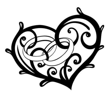 anillos de boda: Coraz�n con los anillos de boda, elementos de dise�o vectorial