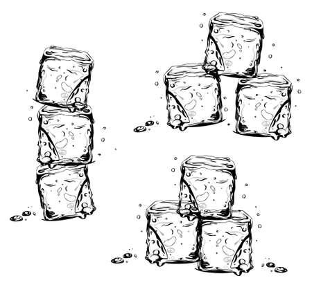 cubos de hielo: Los cubos de hielo, elementos de dise�o vectorial