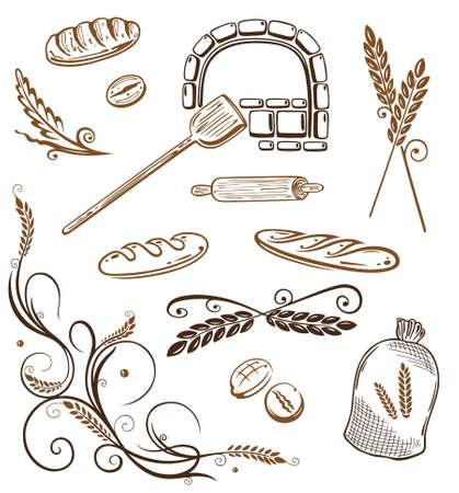 Bunte Getreide und Back Vektor-Design-Elemente