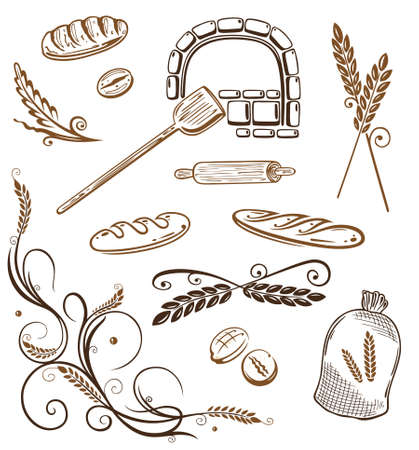 baker: Colorful grain and bakery vector design elements  Illustration