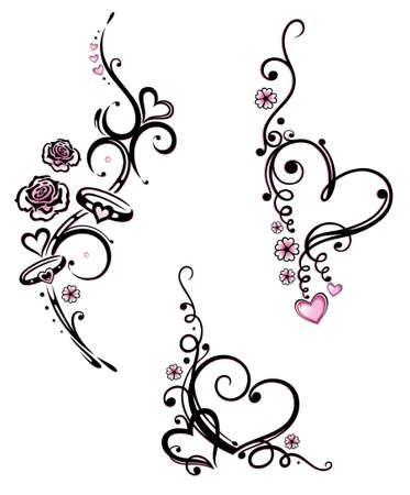 Bunte Herzen mit Blumen, Vektor-Design-Element