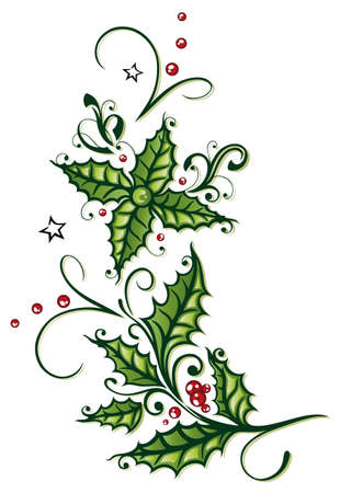 christmas berries: Colorful christmas decoration, holly and berries