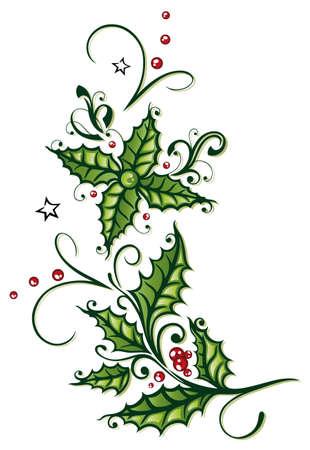 frutos rojos: Colorida decoraci�n de la Navidad, el acebo y las bayas Vectores
