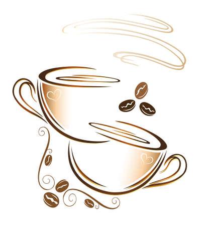 chicchi di caff�: Tazza di caff� colorato con chicchi di caff� decorazione