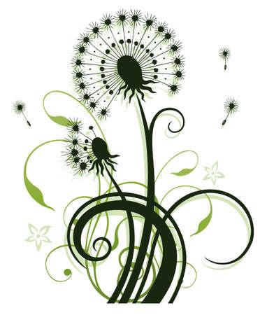 tendrils: Colorful spring flowers, dandelion, floral element  Illustration