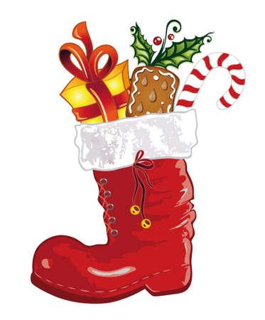 Bunte Weihnachten Stiefel mit Süßigkeiten Illustration