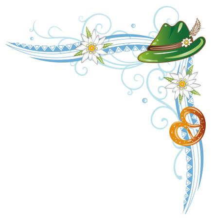 뮌헨: 꽃과 프레첼 다채로운 옥토버 페스트 덩굴, 일러스트