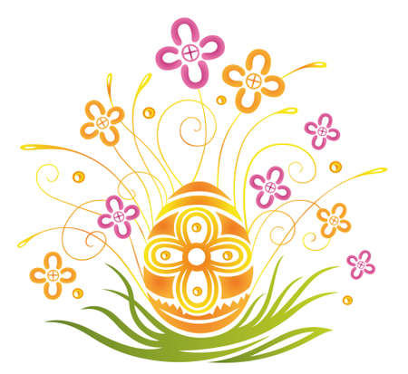 Colorful easter decoration, easter egg with flowers Stock Vector - 22437725