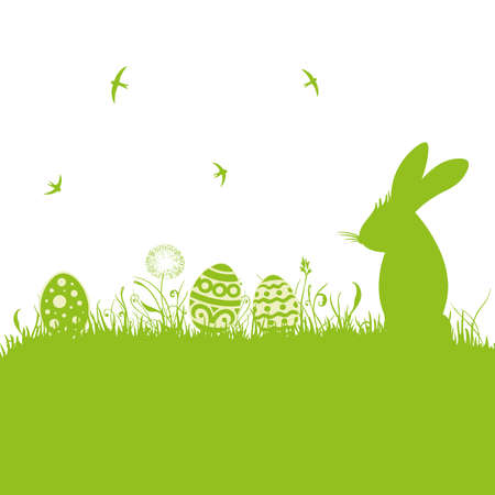 easter bunny: Colorful easter background, with easter bunny and eggs  Illustration