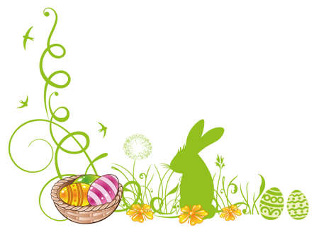 cirrus: Colorful easter tendril with easter eggs and easter bunny