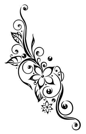 Schwarze Blumen Illustration, Stammes-Tattoo-Stil