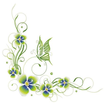Bunte Blumen mit Schmetterling, Frühling