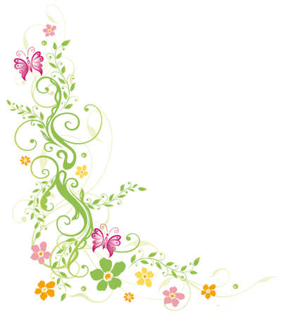Colorful flowers with butterflies, spring time  Vector