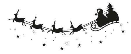 papa noel en trineo: Papá Noel en un trineo con renos