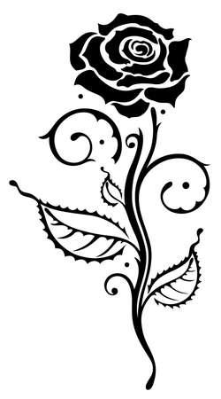 rosas negras: Hermosa rosa negro, vector elemento de diseño Vectores