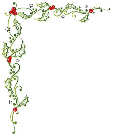 christmas border: Colorful christmas decoration, holly and berries