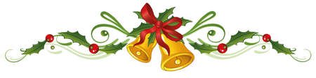 holly berries: Colorful christmas decoration, holly and bells  Illustration